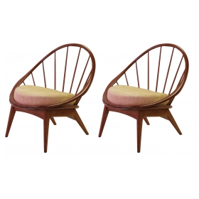 a stylish and mod pair of danish modern 1950's walnut hoop chairs by ib kodod-larsen