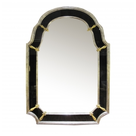 epoca san francisco a glamorous american hollywood regency 1960's silver giltwood mirror with black glass border