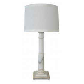 a sleek hollywood regency carved carrara marble columnar lamp by Marbro Lamp, CO., Los Angeles
