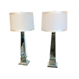 epoca san francisco: A Tall and Shimmering Pair of Beveled Mirror Obelisk-Form Lamps