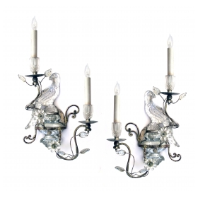 an elegant pair of french mid-century silver-leafed and glass bird sconces; attributed to maison bagues