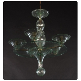 rare and shapely murano pale green glass 4-arm chandelier