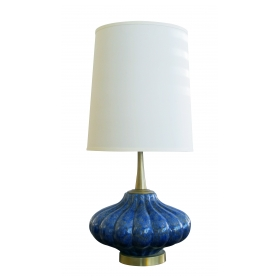 shapely american 1960's lobed blue and green glazed ceramic lamp with brass fittings