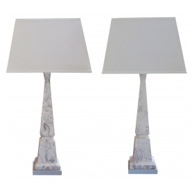 a striking and sleek pair of american mid-century faux marble ceramic obelisk-form lamps by Tye of California, Los Angeles