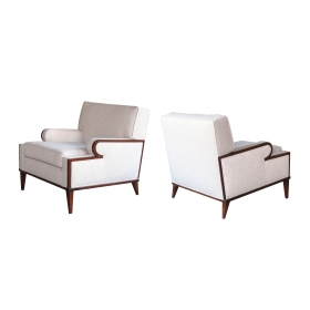 a stylish and comfortable pair of american 1960's upholstered club chairs
