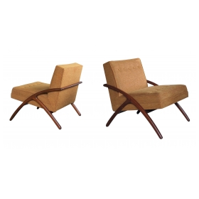 sleek and stylish pair of american 1960's ash grasshopper chairs
