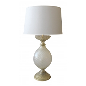 stunningly large murano barovier & toso mid-century gold aventurine lamp for marbro lamp co.