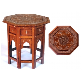 An Intricately Inlaid Anglo Indian 19th Century Octagonal Sandalwood  Side/tea Table With Bone Inlay; Stamped U0027British Indiau0027