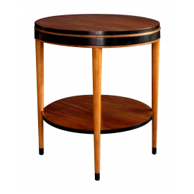 sleek and stylish american mid-century modern ash circular side table with ebonized highlights