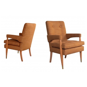a handsome and stylish pair of american mid-century high-back upholstered arm chairs