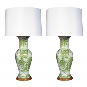 finely painted japanese 1960's baluster-form porcelain lamps with apple green and gilt decoration