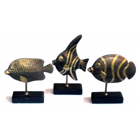 delightful set of 3 1960's bronze tropical fish on stands
