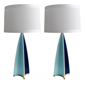 stylish and rare pair of gerald thurston for lightolier parabolic fin lamps