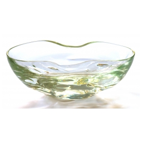 large and thickly-modeled swedish 1960's pale-green art glass oblong bowl