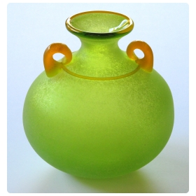 a good quality and vibrant murano signed franco moretti acid-green scavo vase with orange handles and trailing