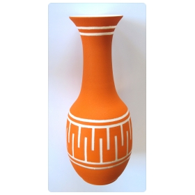 tall and striking american 1960's orange glazed vase with white ground