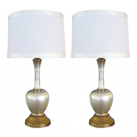 chic pair of murano mid-century pearl glazed boudoir lamps with applied glass beads
