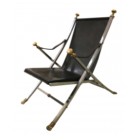 good quality and chic 1960's brushed steel, bronze and leather campaign chair designed by Otto Parzinger for Maison Jansen