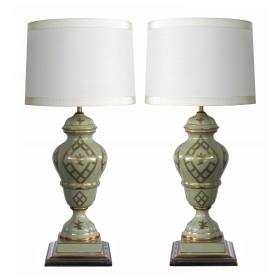 good quality and elegant pair of Marbro Lamp Co. 1960's baluster-form celadon-glazed lamps with gilt decoration