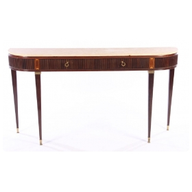 elegant and good quality italian Paolo Buffa 1960's 2-drawer console table with marble top