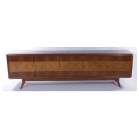 a chic italian mid-century modern walnut and pearwood canted corner sideboard with curved front and inlaid band with diamond stringing