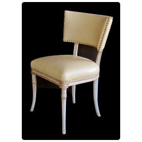 a graceful american 1940's celadon painted grosfeld house side/dressing/desk chair