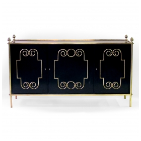 epoca american mid-century custom-made black lacquer 3-door sideboard/buffet with applied brass scrollwork and bronze mounts; by Daniel Jones, Inc., New York