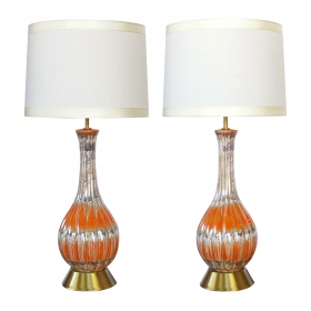 stylish pair of mid-century bottle-form luster-glazed ceramic lamps with ribbed body