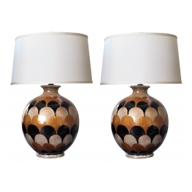 bold pair of italian 1970's handmade ovoid-shaped ceramic lamps with imbricating glaze