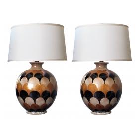 bold pair of italian 1970's handmade ovoid-shaped ceramic lamps with imbricating glaze