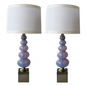 good pair of murano mid-century gourd-form lamps by Dino Martens for Aureliano Toso