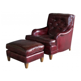 handsome and comfortable american 1940's chesterfield club chair and ottoman with deep burgundy leather