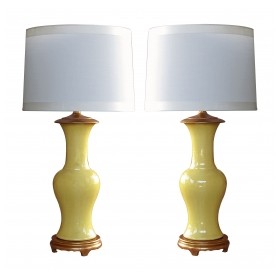 vibrant and shapely pair of chinese baluster-form canary-yellow crackle-glaze porcelain lamps