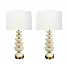 Pair of English Brass and Alabaster 'Positano' Lamps by Vaughn, London