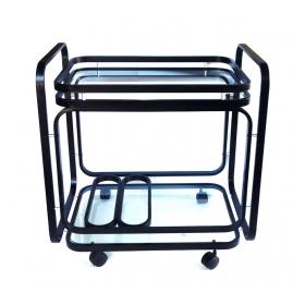 American 1970's Black Metal Drinks/Bar Cart with Glass Shelves