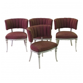 elegant set of 4 grosfeld house 1940's ivory painted and parcel-gilt side game chairs  epoca san francisco
