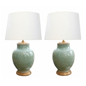 Pair of Vintage Chinese Carved Celadon Glazed Ovoid-form Lamps