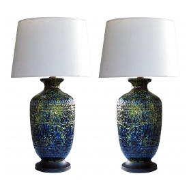 a massive pair of american 1960's ceramic lamps with blue, green and yellow drip glaze