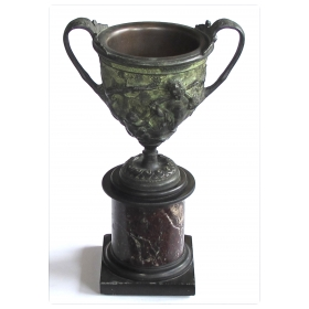 good quality italian grand-tour bronze double-handled urn on a marble base