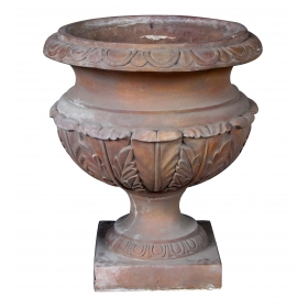 massive neoclassical style terra cotta campagna-form garden urn with bold acanthus leaf decoration