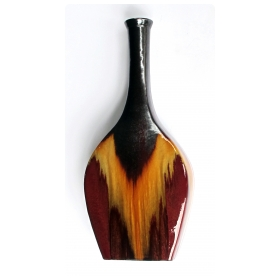 large and dramatic american 1960's banjo-form drip-glaze vase