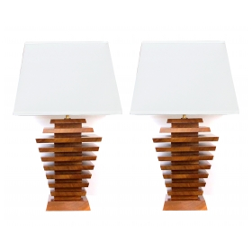 a truly unique and stylish pair of american 1960's stacked maple lamps of tapering form