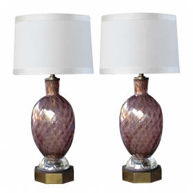 a good quality pair of murano seguso mid-century aubergine glass lamps