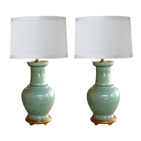 large-scaled pair of antique chinese celadon glazed vases now mounted as lamps