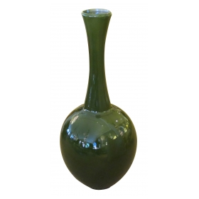 "a monumental and impressive american 1960's 41"" high olive-green glazed bottle-form floor vase/urn"