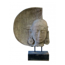 a serene carved stone moon buddha by Luciano Tempo (1936-2009)