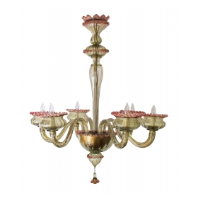 a chic murano 1950's olive green glass 6-light chandelier with pink embellishments