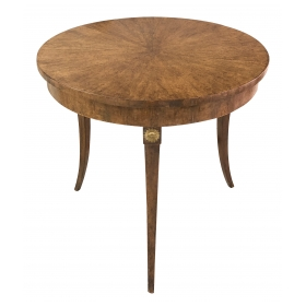 an elegant french neoclassical style pearwood-veneered circular side table with gilt-metal mounts