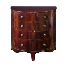 shapely and elegant english regency mahogany 2-door demilune chest/cabinet