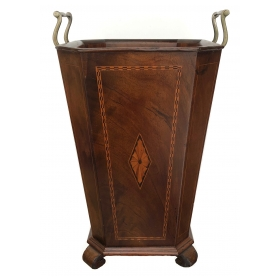 handsome and warmly-patinated english edwardian inlaid mahogany umbrella/waste receptacle
